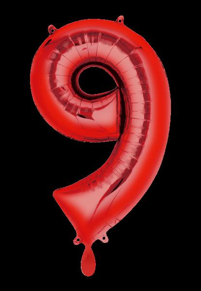 """XXL Zahlenballon """"9"""" rot inkl. Füllung"""