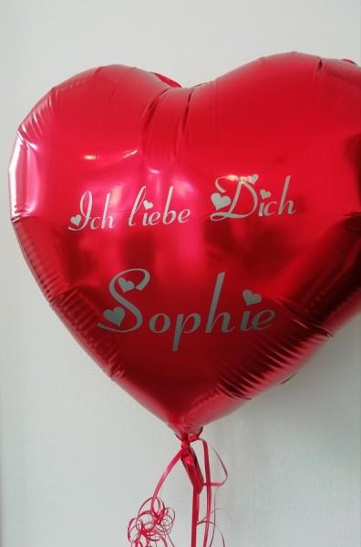 Heliumballon Herz rot, mit Wunschtext/Karte und gratis Lieferung