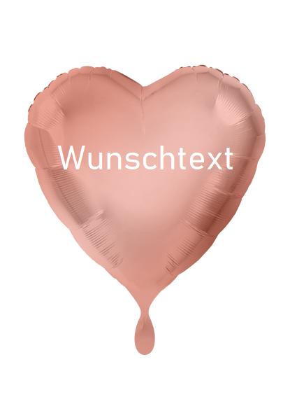 Heliumballon Herz rosegold, mit Wunschtext/Karte und gratis Lieferung