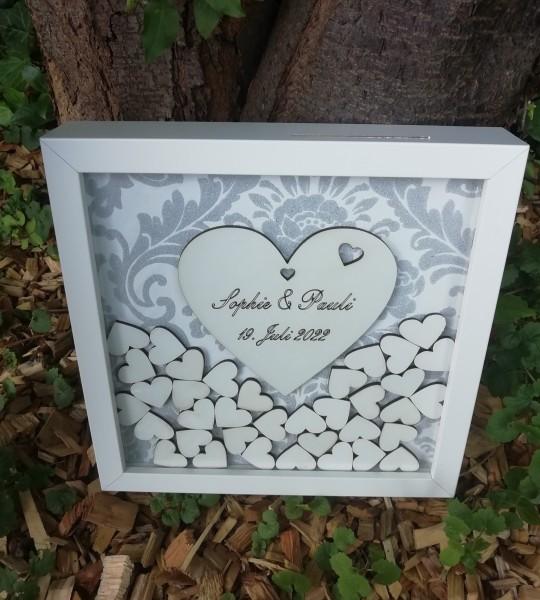 Gästebuch Hochzeit Quadratisch Eventfieber grau ,Gästebuchrahmen mit Holzherzen für die kleine Hochz