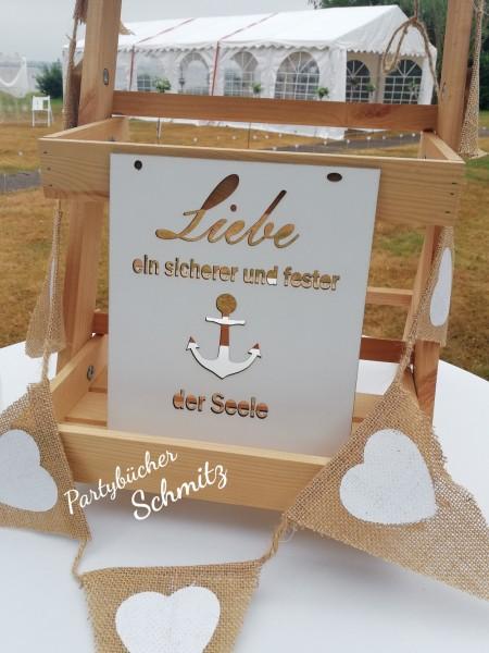 Holzschild mit Anker und Spruch gelasert,Geschenk