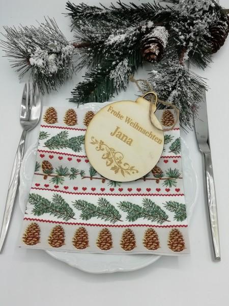 Weihnachtlicher Holzhänger als Weihnachtsbaumkugel personalisiert mit Ihrem Wunschnamen