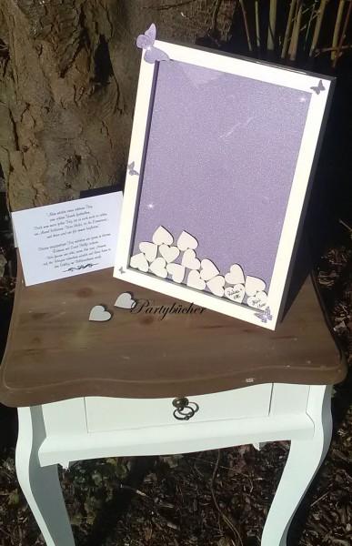 Hochzeitsgästebuch als Bilderrahmen mit Holzherzen
