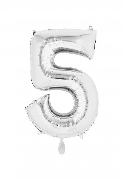 """XXL Zahlenballon """"5"""" silber inkl. Füllung"""