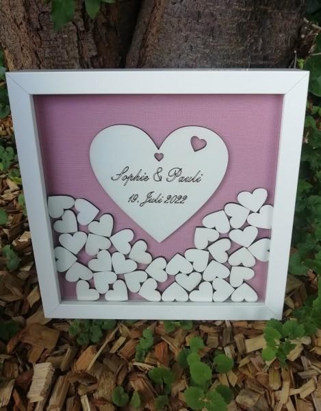 Gästebuch Hochzeit Quadratisch rosa ,Gästebuchrahmen mit Holzherzen für die kleine Hochzeit