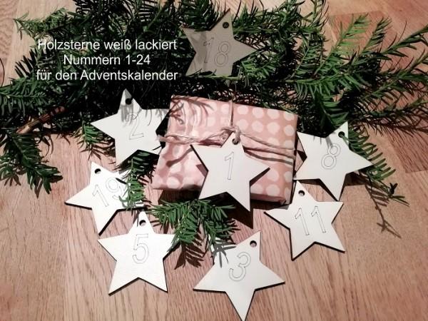 24 Adventskalenderhänger Holzhänger Sterne weiß lasiert
