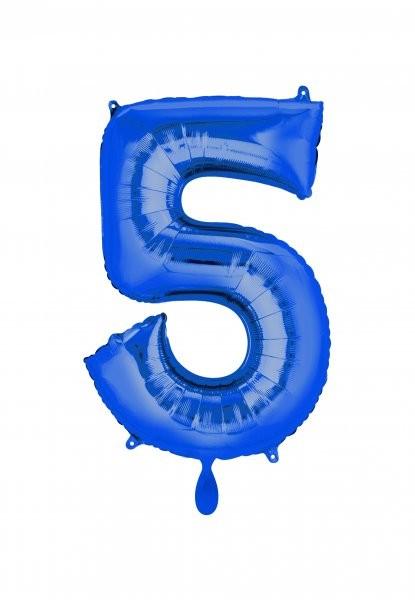 """XXL Zahlenballon """"5"""" blau inkl. Füllung"""