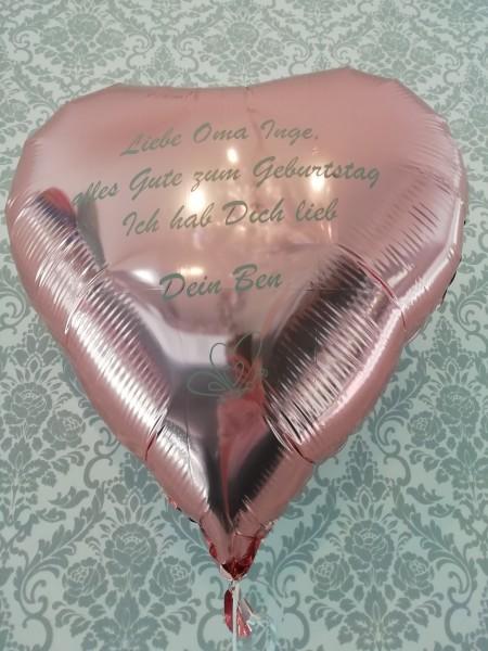 XXL Heliumballon Herz rosa, mit Wunschtext/Karte und gratis Lieferung