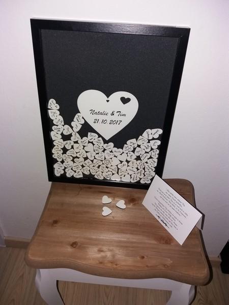 Hochzeitsgästebuch Bilderrahmen,Holzherz schwarz