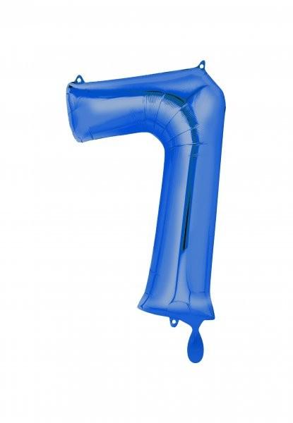 """XXL Zahlenballon """"7"""" blau inkl. Füllung"""