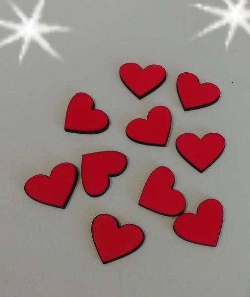 Holzherzen rot , 3 cm ( Verpackungseinheit 10 Stück)