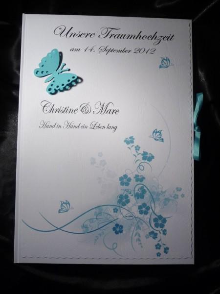Gästebuch Hochzeit türkis Schmetterlinge DIN A4