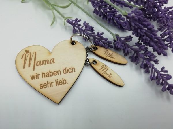 """Schlüsselanhänger aus Holz- personalisiert """" Mama"""""""