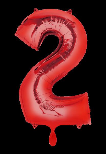"""XXL Zahlenballon """"2"""" rot inkl. Füllung"""
