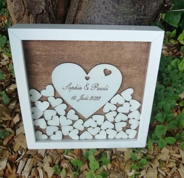 Gästebuch Hochzeit Quadratisch Vintage ,Gästebuchrahmen mit Holzherzen für die kleine Hochzeit