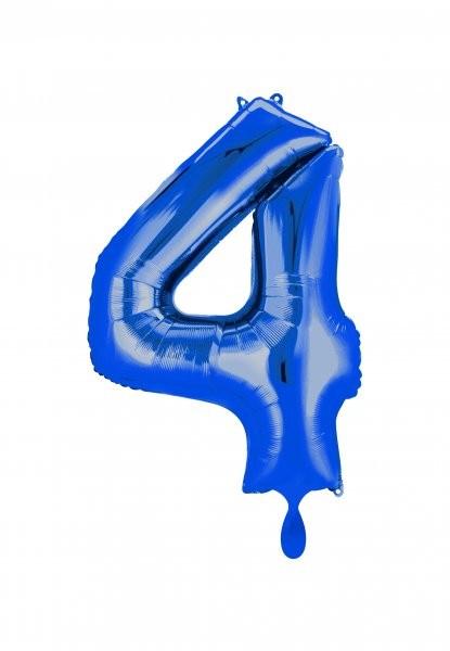 """XXL Zahlenballon """"4"""" blau inkl. Füllung"""