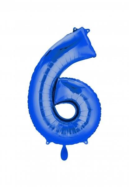 """XXL Zahlenballon """"6"""" blau inkl. Füllung"""