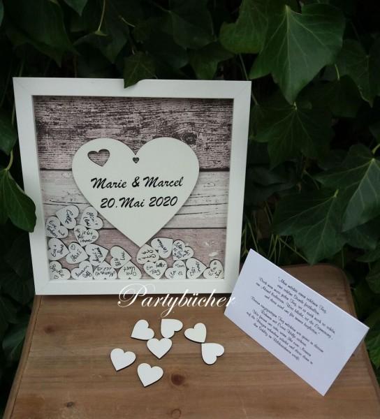 Gästebuch Hochzeit Quadratisch Holzoptik,Gästebuchrahmen mit Holzherzen
