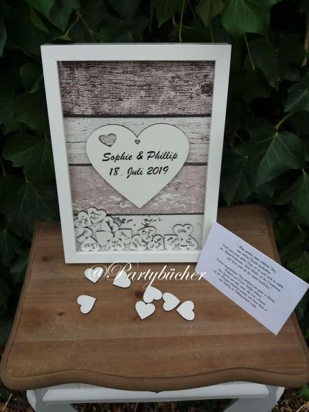 Gästebuch Hochzeit mit Holzherzen und Ihrem Namen