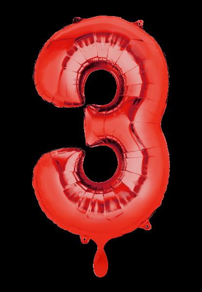 """XXL Zahlenballon """"3"""" rot inkl. Füllung"""
