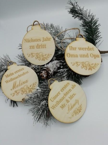 """Weihnachtlicher Holzanhänger """" Gravur Wunschname"""" für Geschenke, Tannebaum oder als Tischkarte"""
