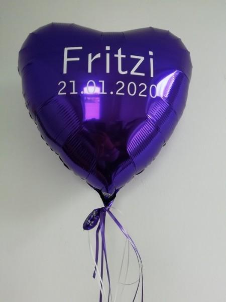 Heliumballon Herz lila, mit Wunschtext/Karte und gratis Lieferung