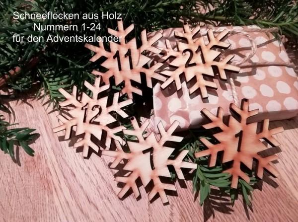 24 Adventskalenderhänger Holzhänger Schneeflocken