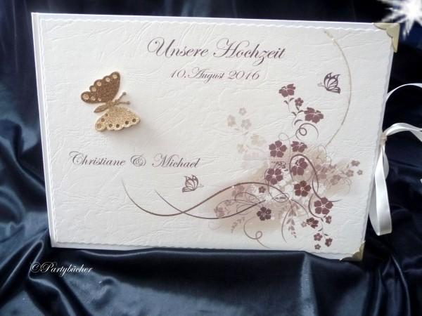 Hochzeitsgästebuch creme gold mit Buchecken