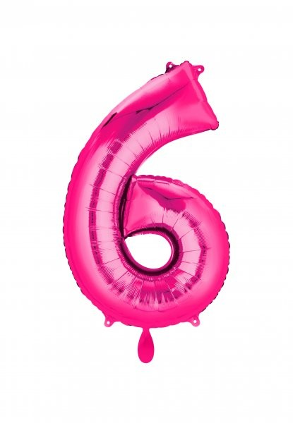 """XXL Zahlenballon """"6"""" pink inkl. Füllung"""
