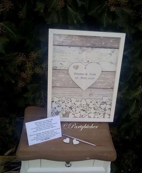 XL Hochzeitsgästebuch Bilderrahmen Gästebuch mit Holzherzen