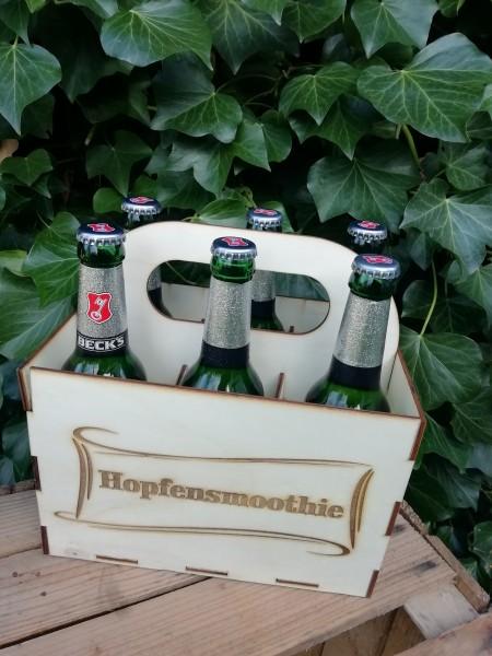 """Bierkiste """"Hopfensmoothie"""" Becksbier mit gelasertem Holzschild und Lieferung"""