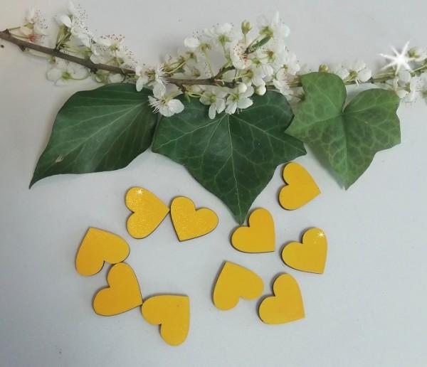Holzherzen gelb lackiert, 3 cm ( Verpackungseinheit 10 Stück)