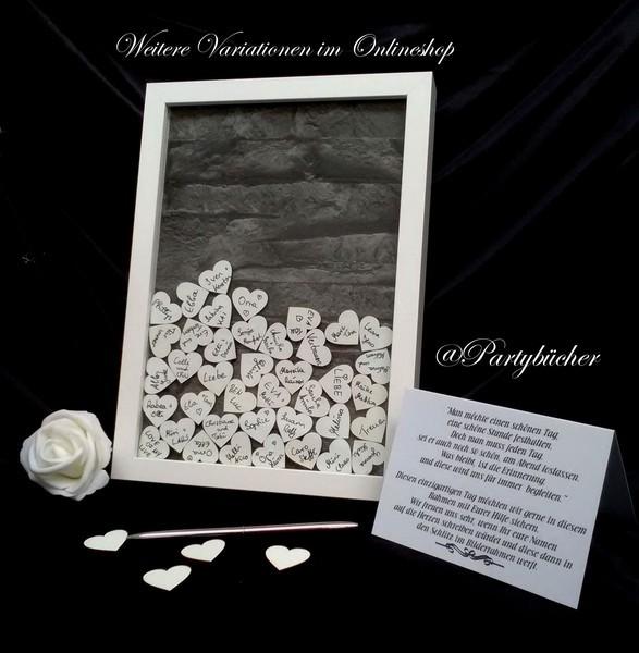Hochzeitsgästebuch als Bilderrahmen mit Einwurf von Holzherzen