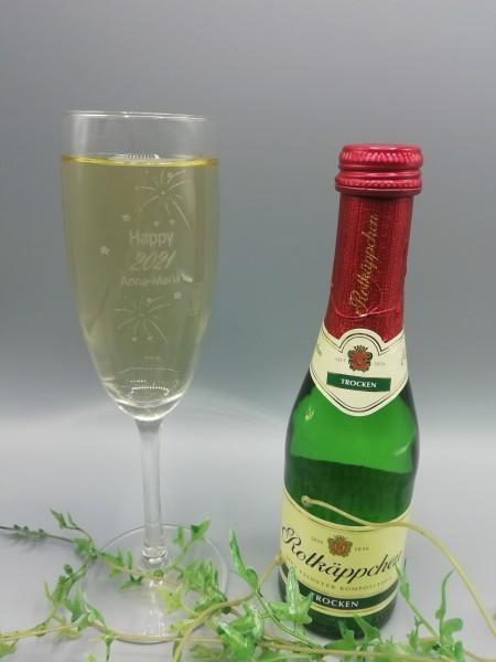 1 Sektglas inklusive Wunschname und einem Sekt 0,2L