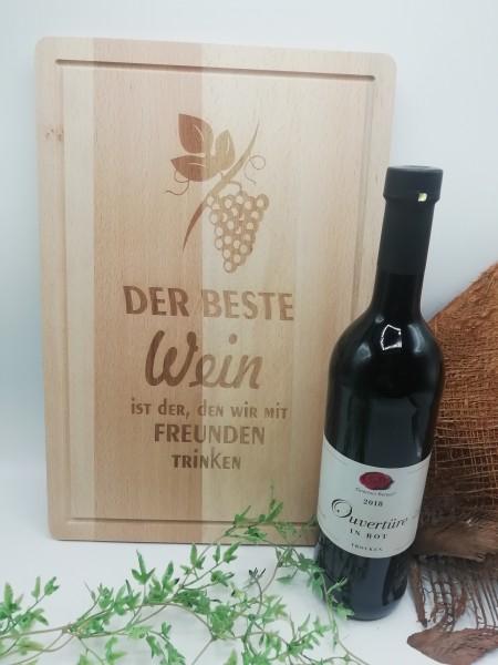 XL Schneidebrett graviert inklusive Wein
