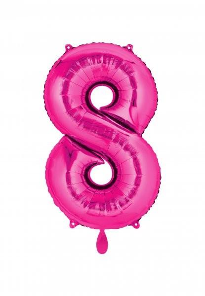 """XXL Zahlenballon """"8"""" pink inkl. Füllung"""
