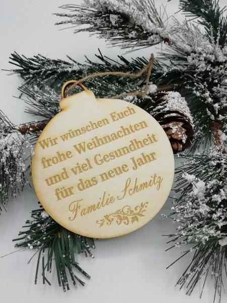 Personalisierte Weihnachtskarte aus Holz