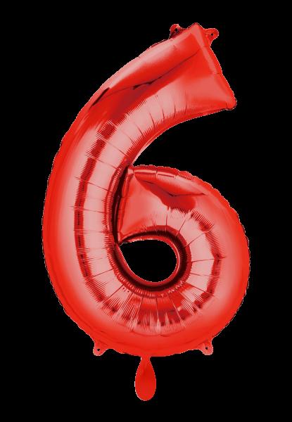 """XXL Zahlenballon """"6"""" rot inkl. Füllung"""