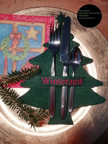 Besteckhalter, Bestecktasche aus dickem Premiumfilz Tannenbaun Weihnachtsbaum-m