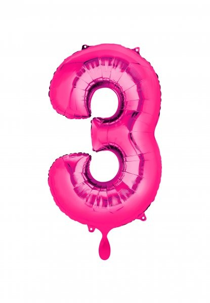 """XXL Zahlenballon """"3"""" pink inkl. Füllung"""