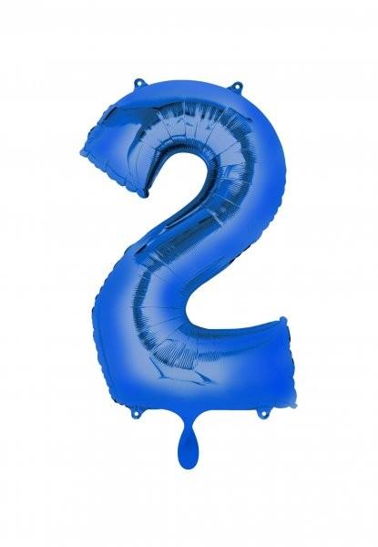 """XXL Zahlenballon """"2"""" blau inkl. Füllung"""