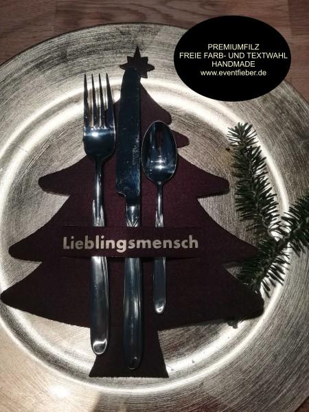 Besteckhalter, Bestecktasche aus dickem Premiumfilz Tannenbaun Weihnachtsbaum-m-Copy