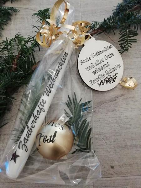 """Geschenkset """" Goldtöne"""" inkl. graviertem Holzhänger und Lieferung"""