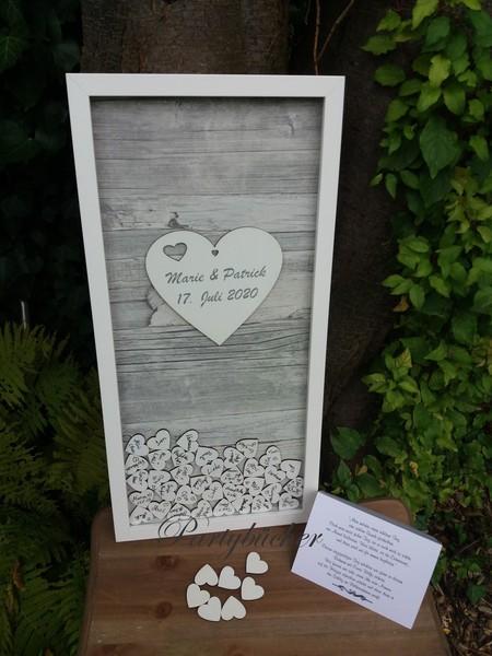 Hochzeitsgästebuchrahmen, Hochzeitsgästebuch grau mit Holzherzen