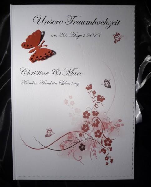Gästebuch Hochzeit rot rosa weiss DIN A4