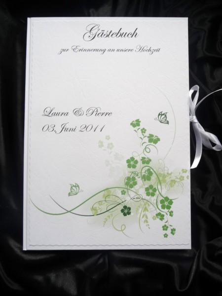 Gästebuch Hochzeit DIN A4 grüne Schmetterlinge