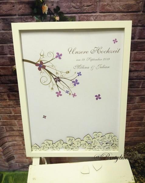 XL Hochzeitsgästebuch Bilderrahmen personalisiert