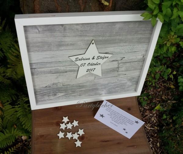 XL Gästebuchrahmen Hochzeitsgästebuch grau Sterne