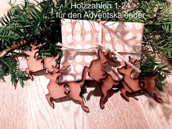 24 Adventskalenderhänger Holzhänger Rentier