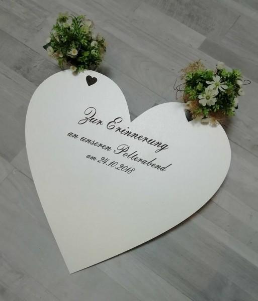 Großes Holzherz als Gästebuch zur Hochzeit oder zum Polterabend